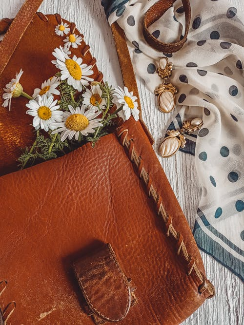 Leather Bag and Earrings