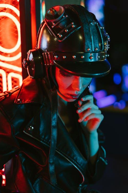 Man in Black Leather Jacket Wearing Black Helmet