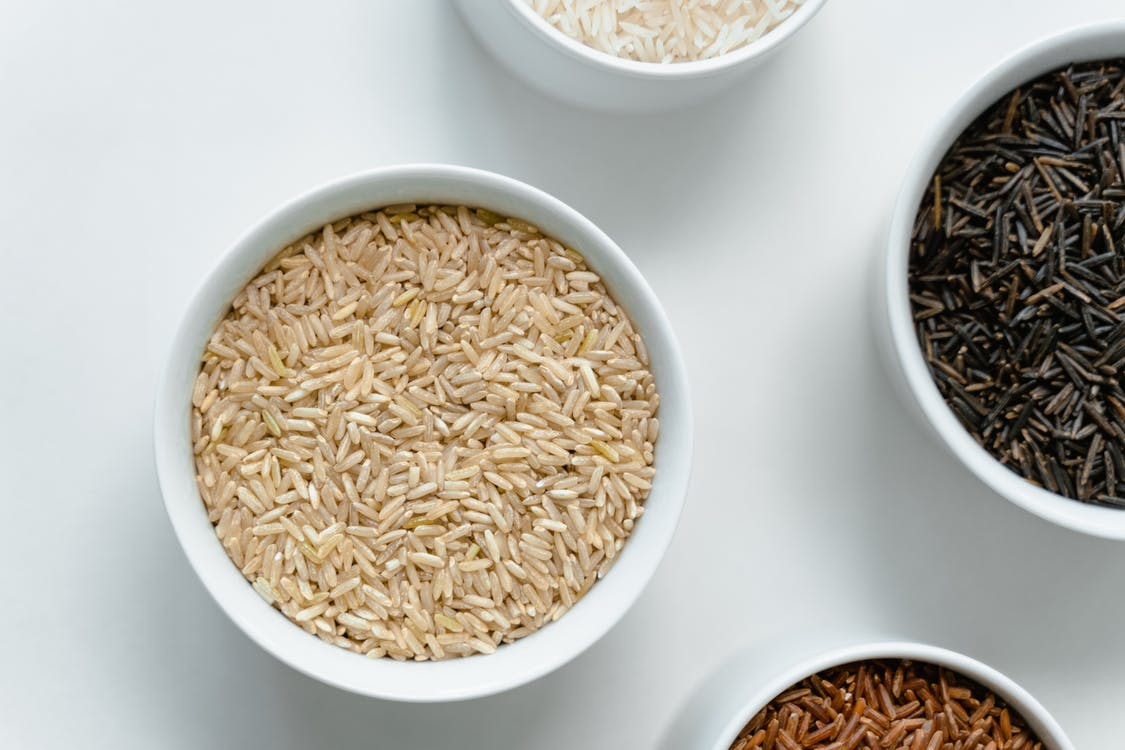 White Ceramic Bowl With Brown Rice