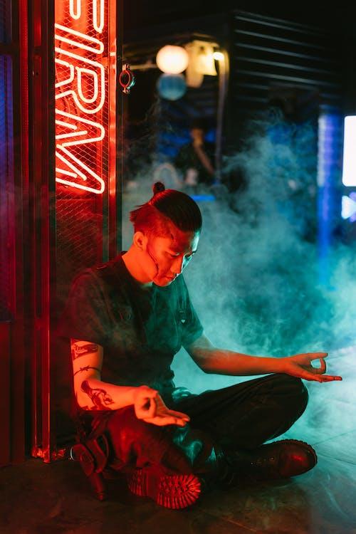 Man in Black Shirt Meditating