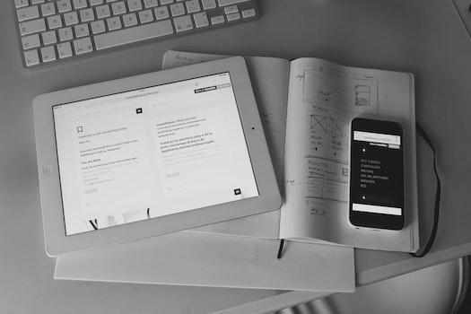 Free stock photo of iphone, desk, ipad, note