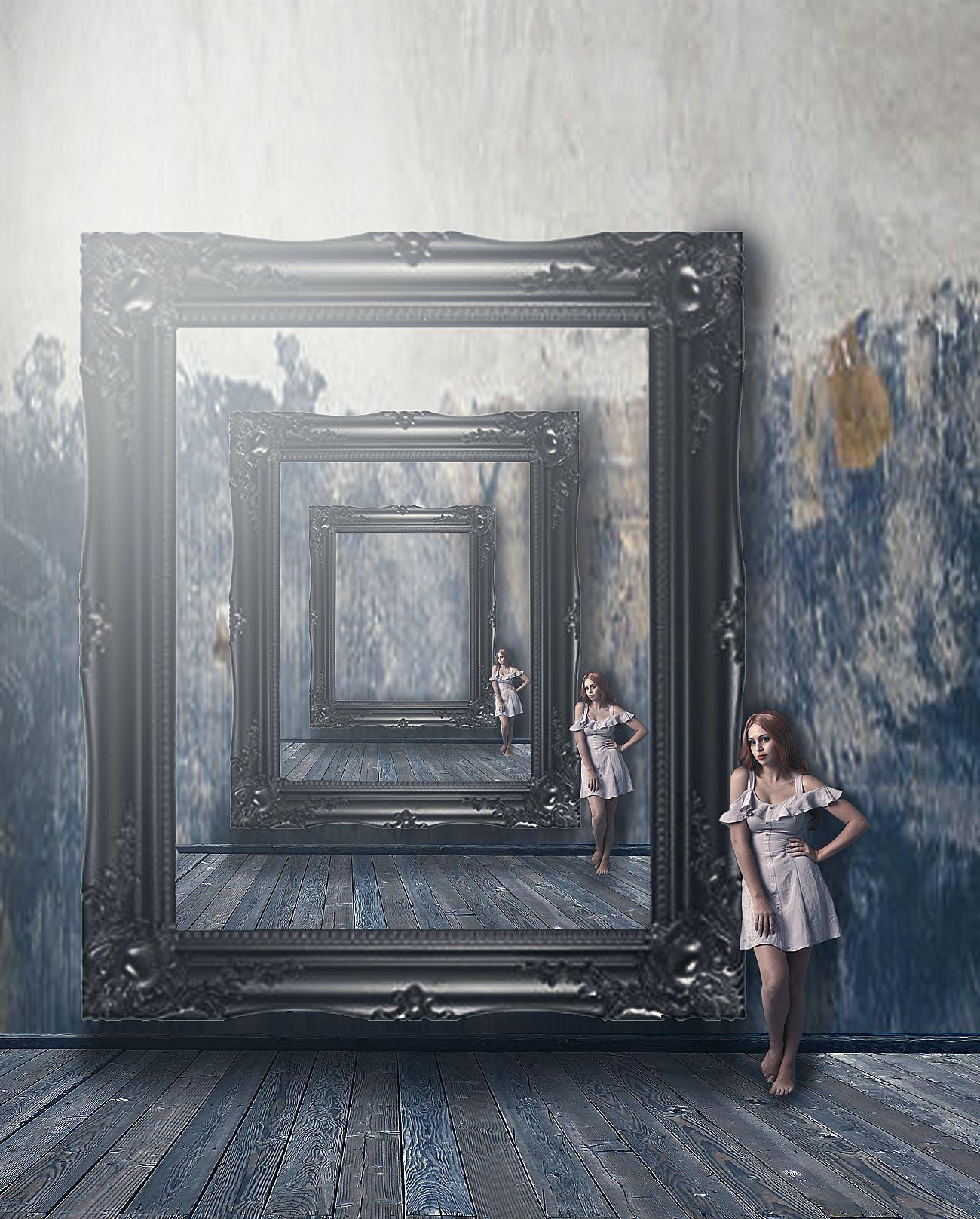 Kostenloses Stock Foto zu bilderrahmen, farbe, hintergrund, mädchen