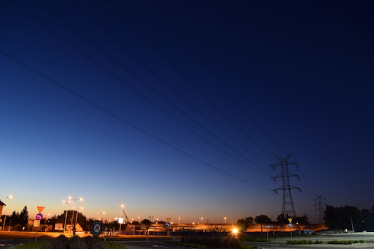 Free stock photo of lights, night, electricity, power lines