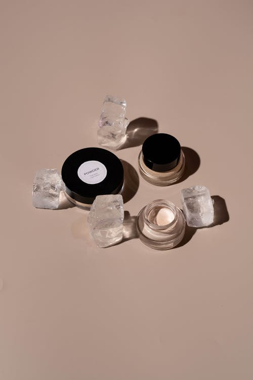 Beauty Products Beside Crystals
