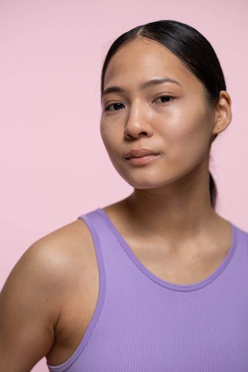 Woman in Purple Tank Top