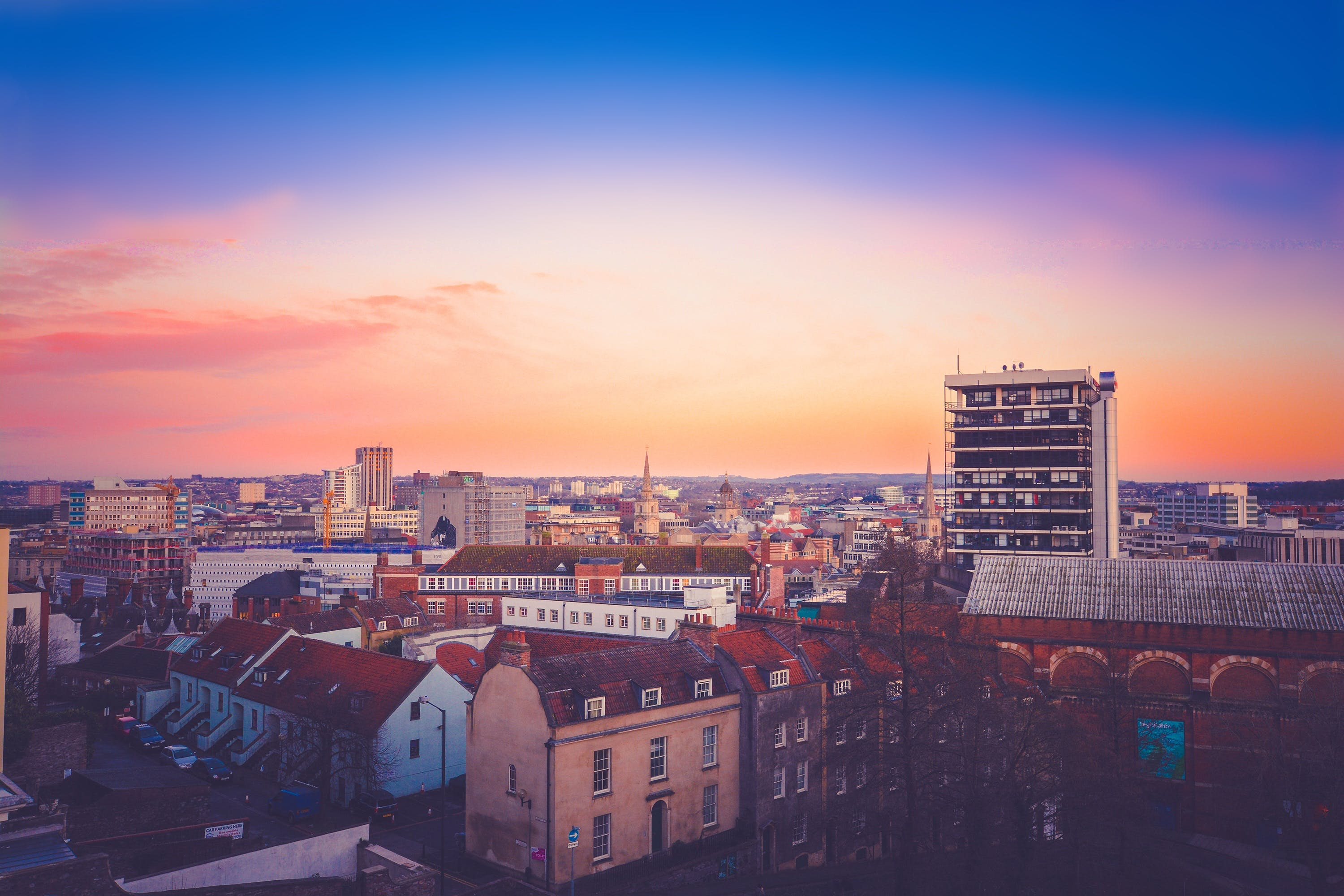 Free stock photo of city, sky, sunset, houses