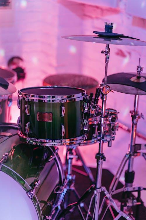 A Close-Up Shot of a Drum Set