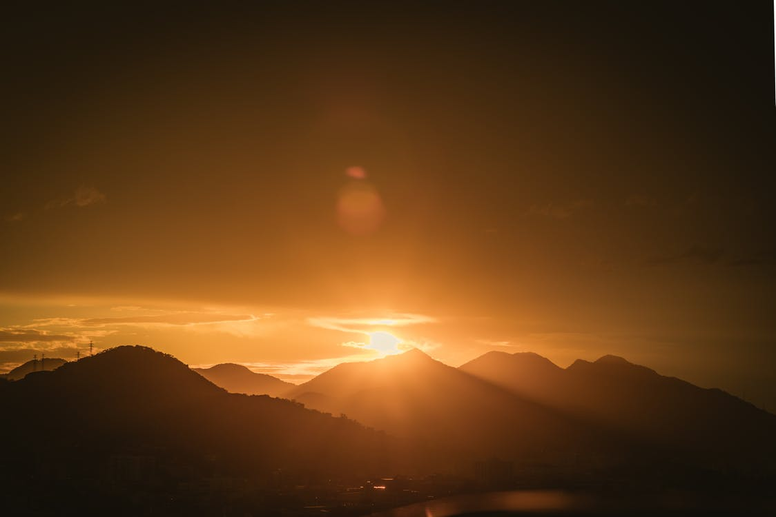 cadeia de montanhas, crepúsculo, golden sun