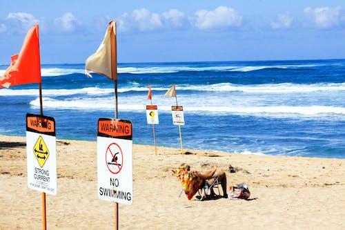 Foto d'estoc gratuïta de acomiadar-se, aigua, assegut, cadira de platja