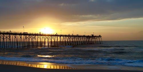 Ilmainen kuvapankkikuva tunnisteilla auringonnousu, laituri, pohjois-carolina, valtameri