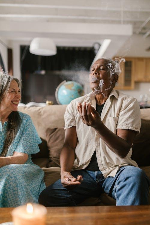 Elderly Man Smoking Joint