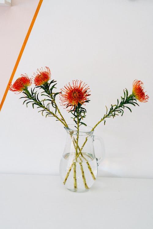 Scarlet Ribbon Flowers in Clear Glass Vase