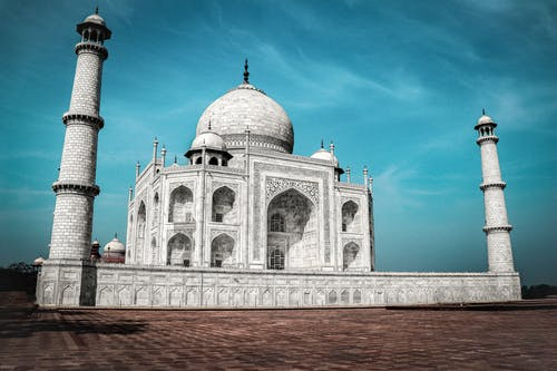 Low Angle Shot of Taj Mahal under Blue Sky