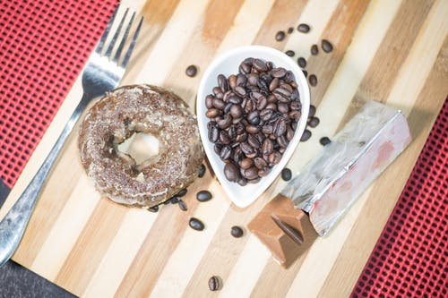Free stock photo of chocolate, coffee beans, donut
