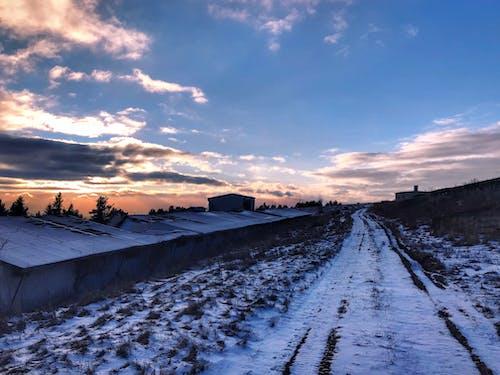 Foto profissional grátis de andando, Branca de Neve, céu azul, céu com cores intensas