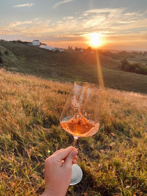 Person Holding Clear Wine Glass during Sunset