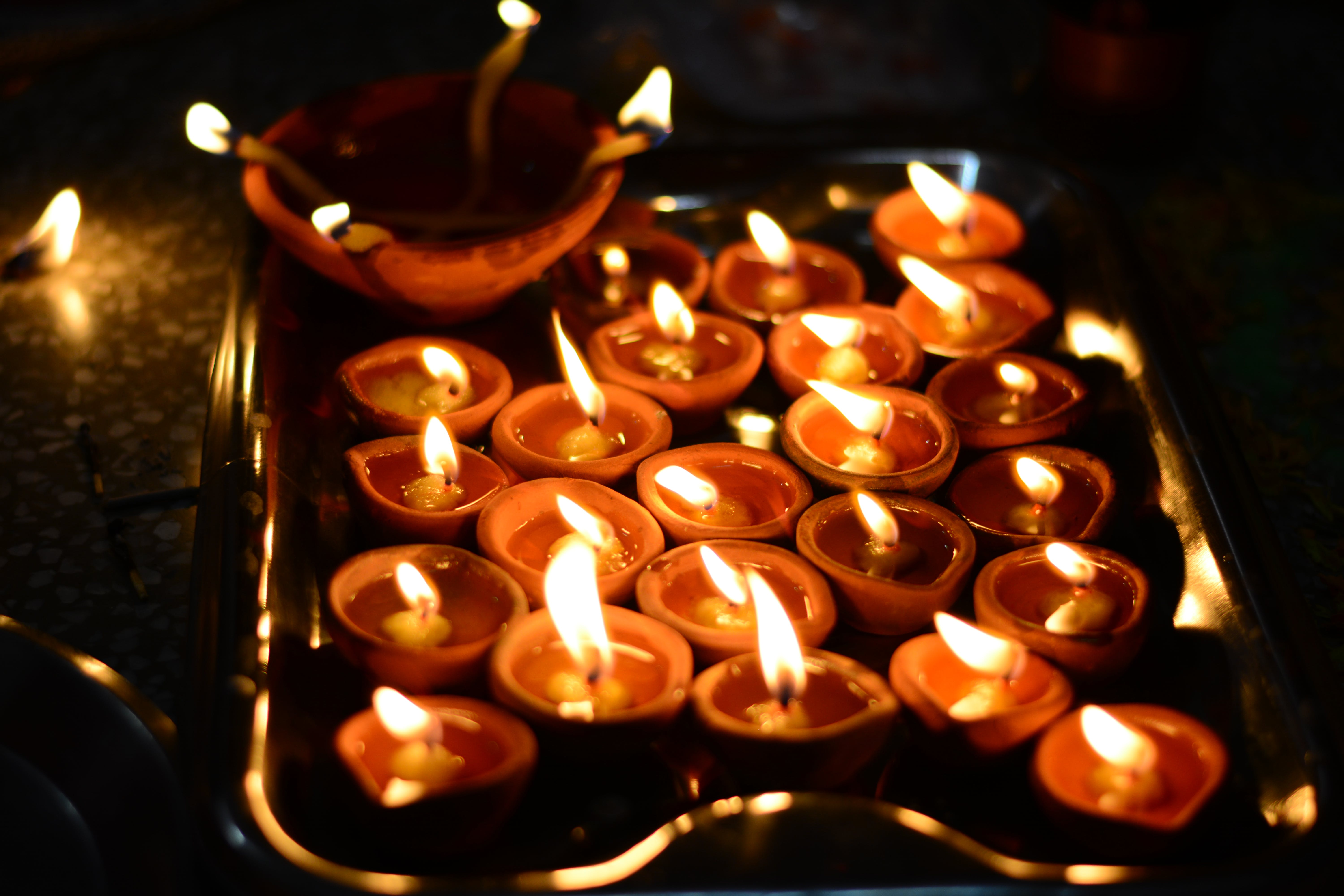 Photo of Tealight Candles on Stainless Steel Tray