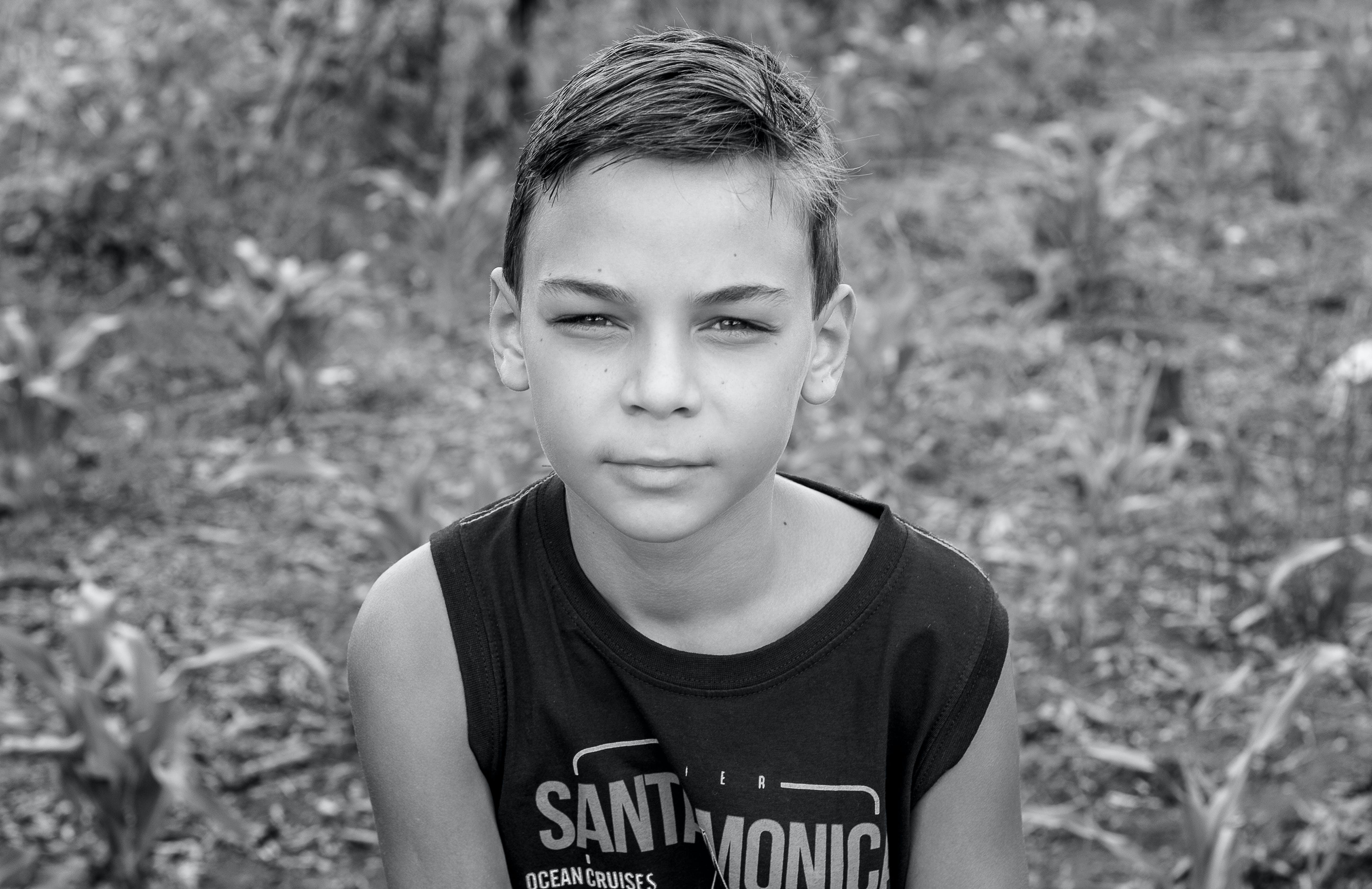 Boy Wearing Santamonic-printed Sleeveless Shirt