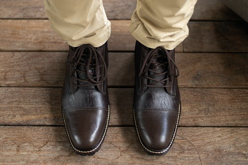 Person Wearing Black Leather Shoes