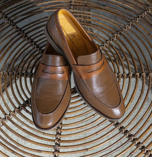 Brown Leather Slip on Shoes