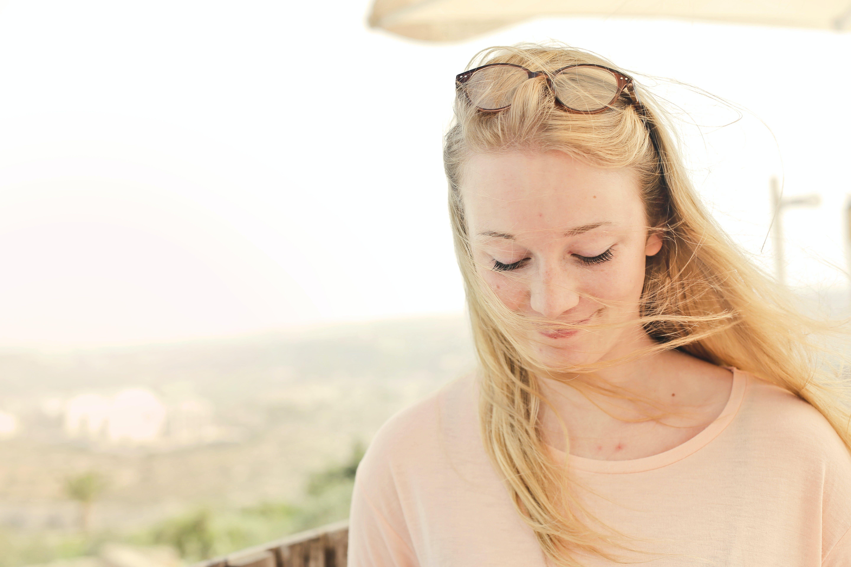 attraktiv, blond, entspannung