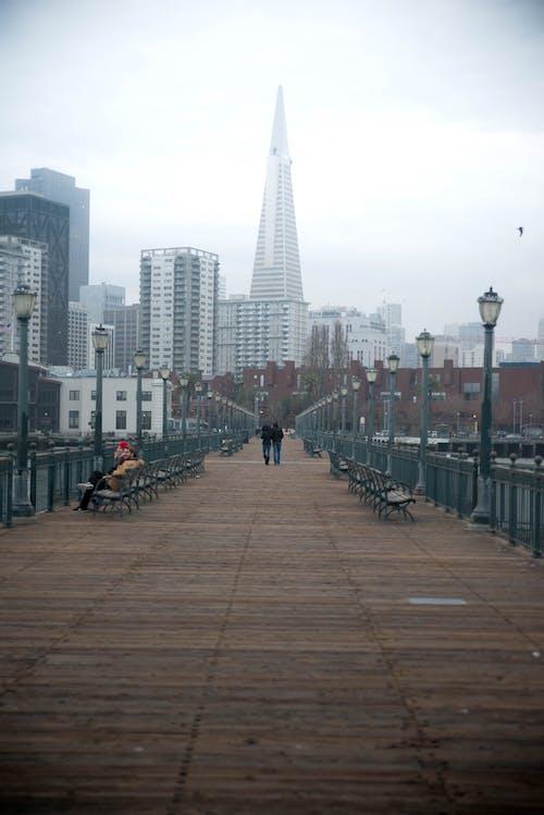 Foto profissional grátis de cais, edifício transamerica, postes de iluminação, romântico