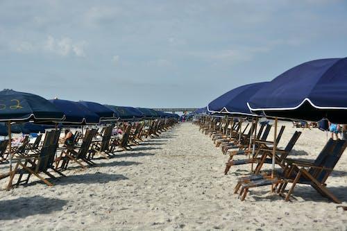 Free stock photo of beach, beach chairs, sand