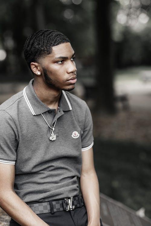 Man in Grey Polo Shirt