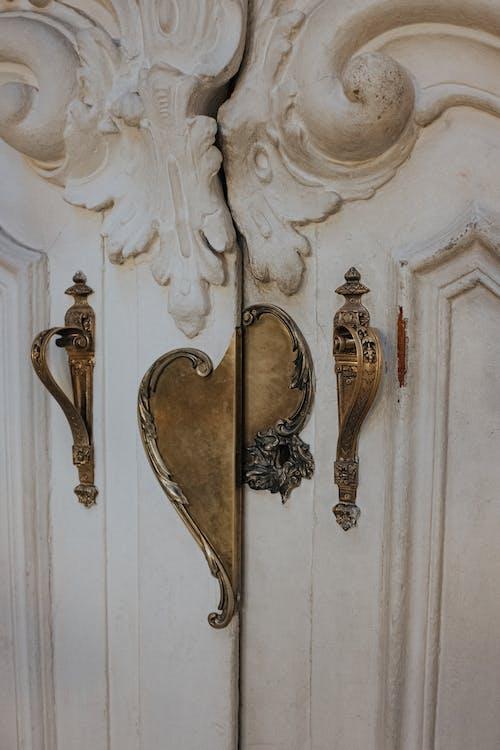 Gold Door Lever on White Wooden Door