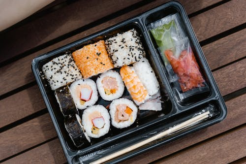 Sushi on Black Plastic Tray