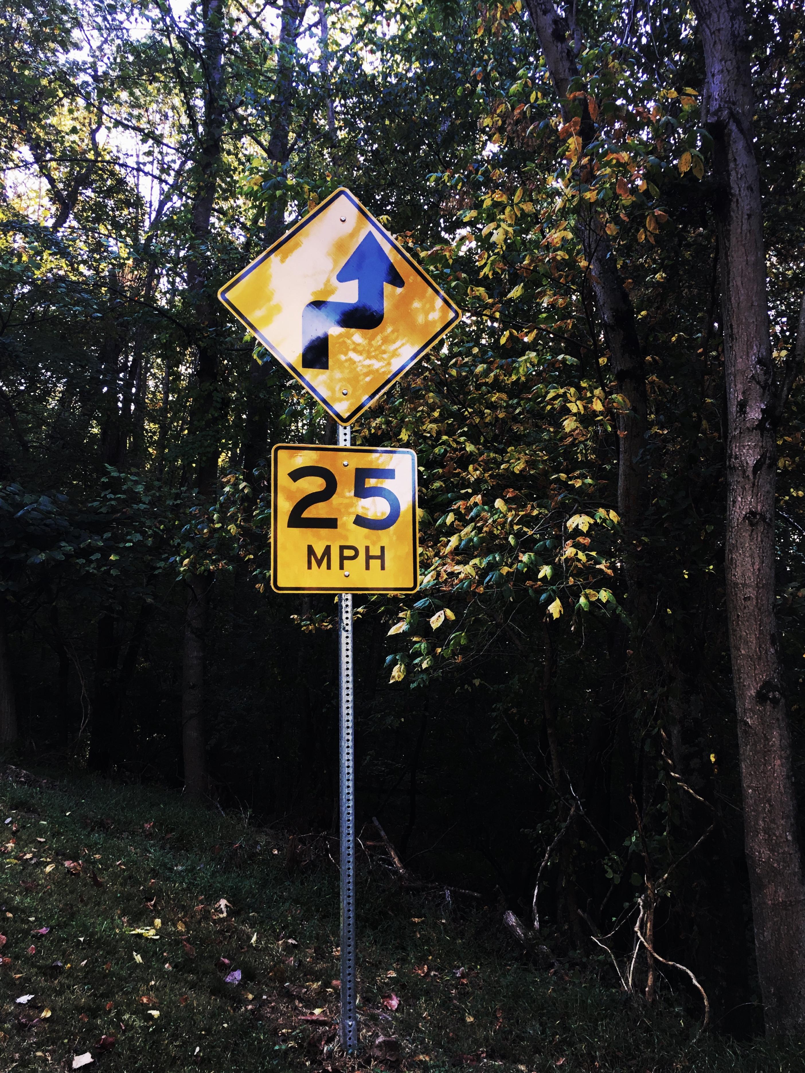 Yellow 25 Mphg Road Signage