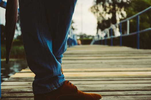 Free stock photo of jetty, feet, shoes, wooden