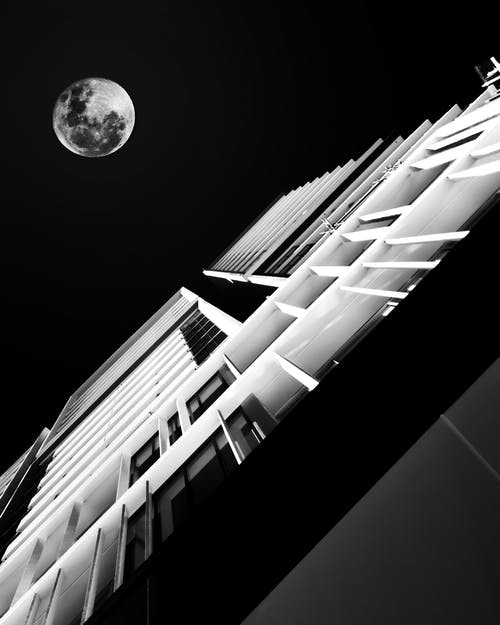 Free stock photo of black and white, full moon, minimal