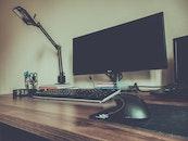 light, desk, laptop