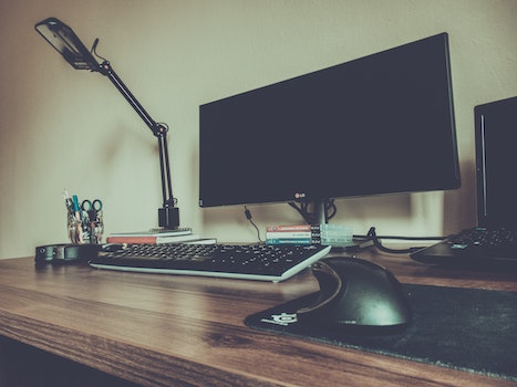 Free stock photo of light, desk, laptop, office