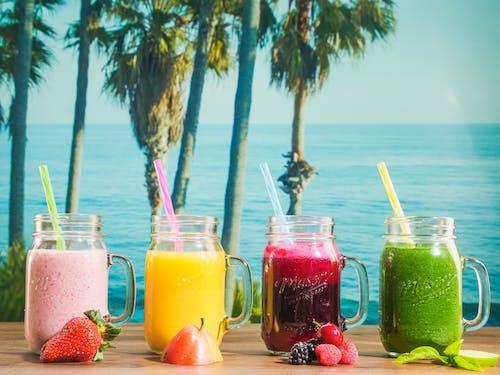건강한 음료, 단백질 쉐이크, 메이슨 병의 무료 스톡 사진