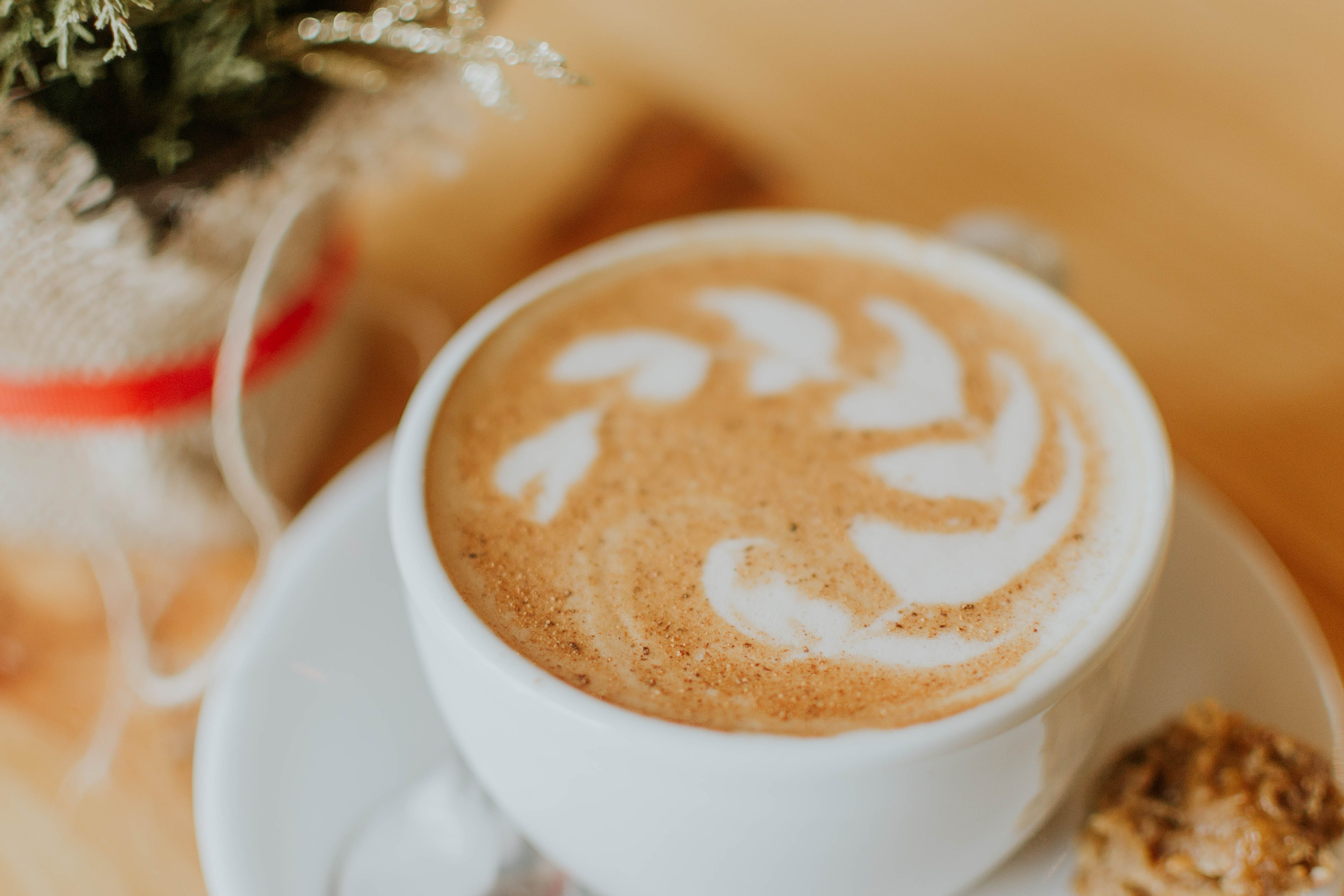 White Ceramic Cup With Coffee Latte
