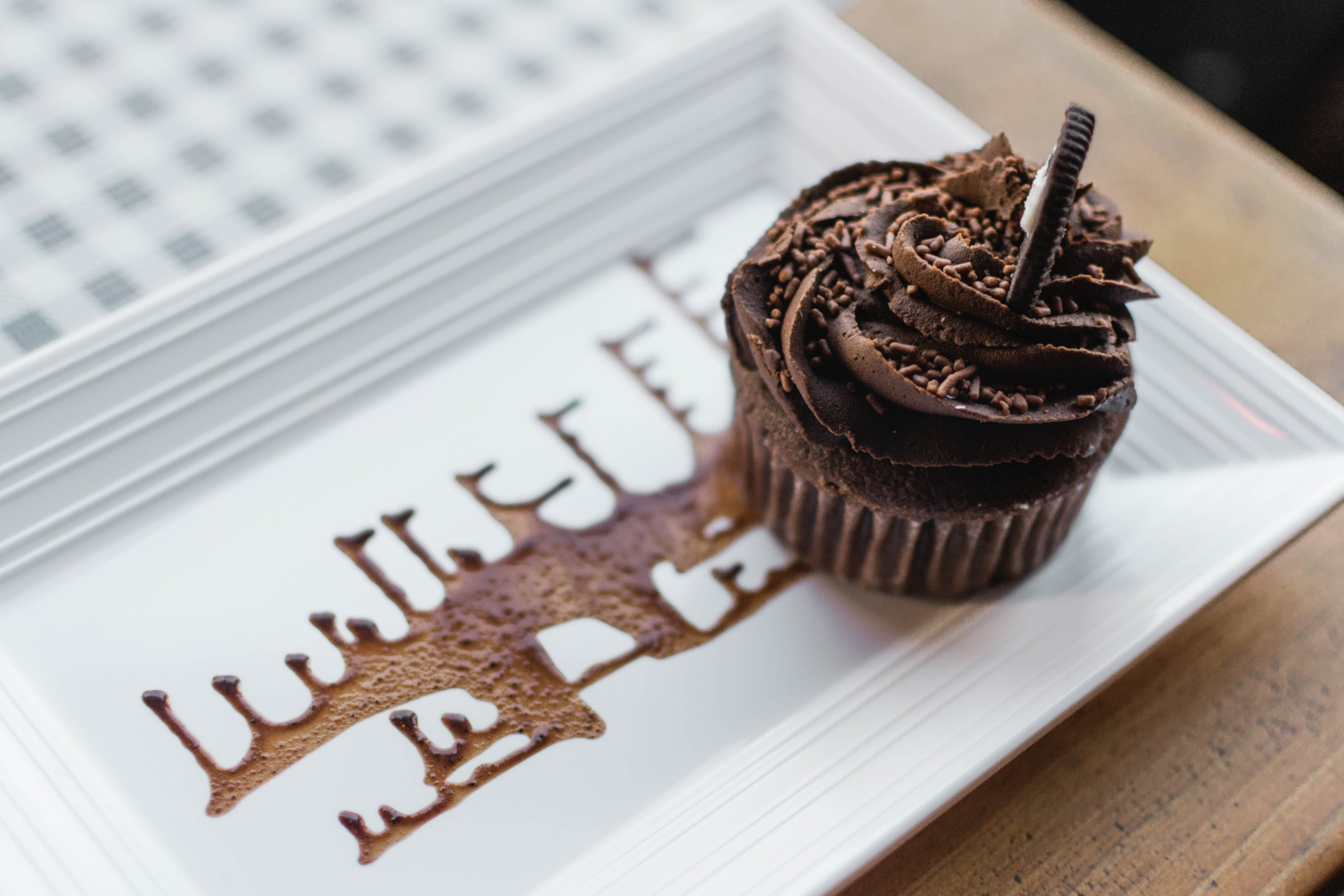 Chocolate Cupcake on Rectangular White Ceramic Plate