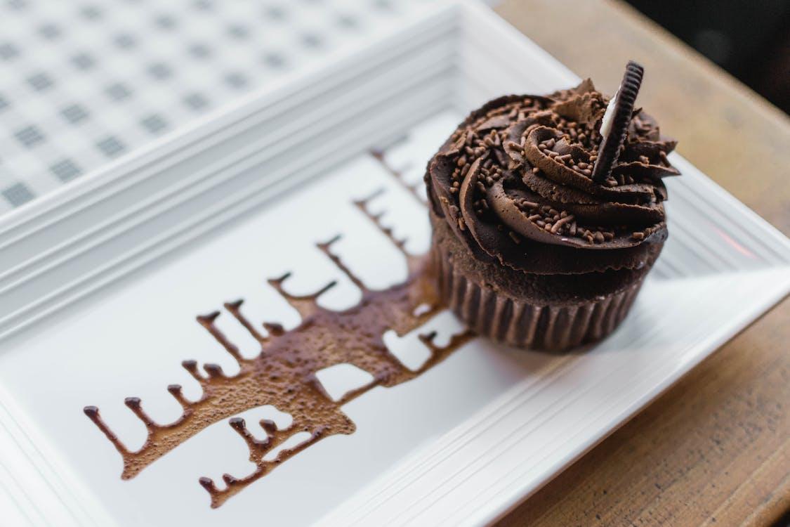 chutný, čokoláda, čokoládové košíčky