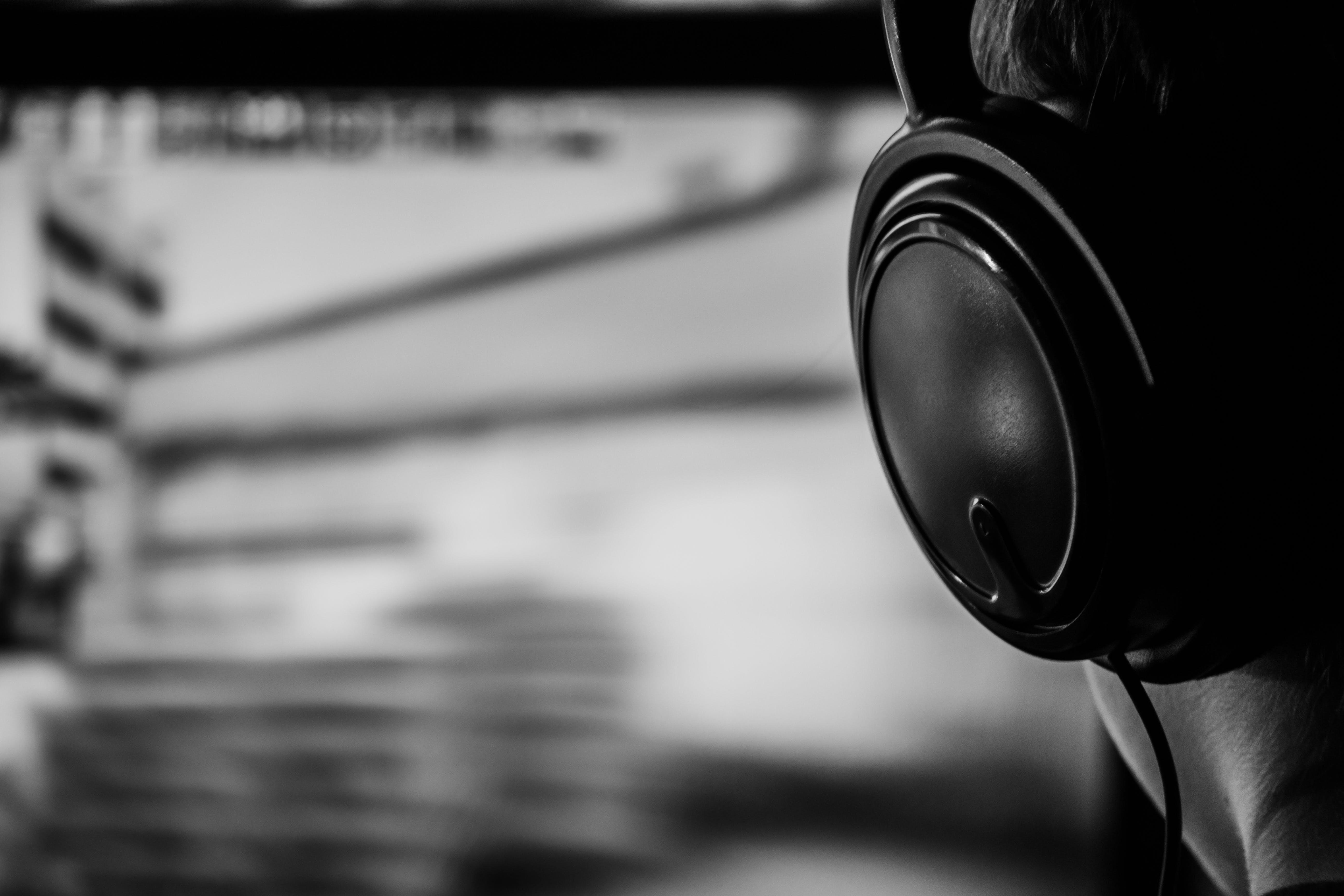 Black Corded Headphone Illustration