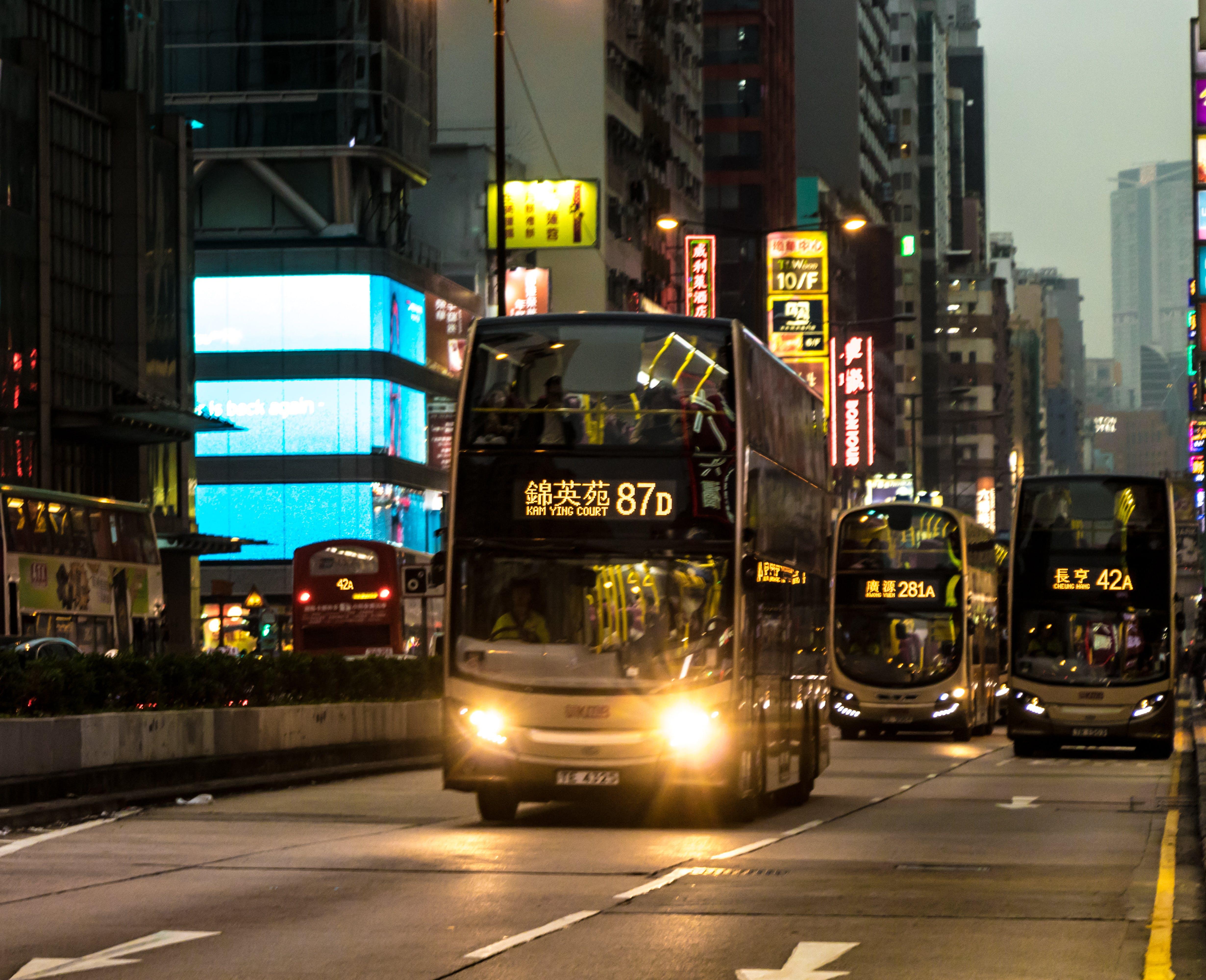 Free stock photo of bus stop, city view, hongkong, neon lights