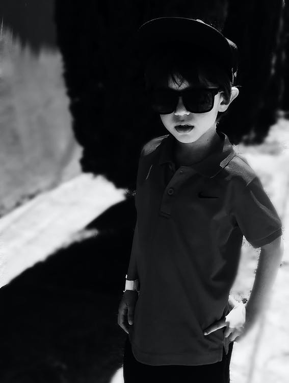 chłopak, czarno-biały, dziecko
