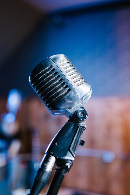Black Microphone With Stand in Bokeh Photography
