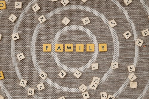 Family Text on Brown Surface