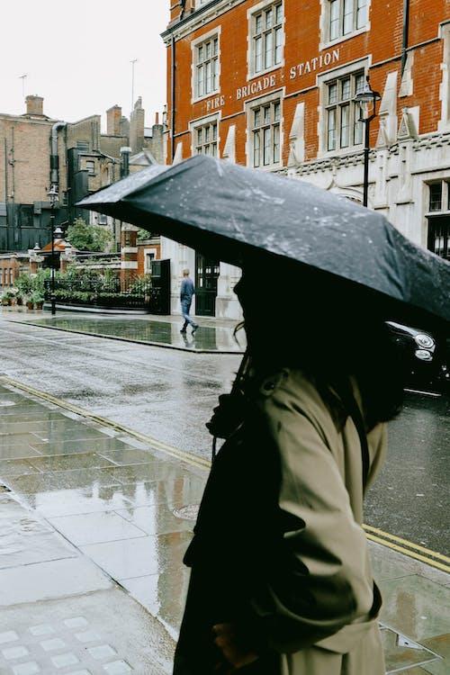 Person in Brown Coat Holding Umbrella