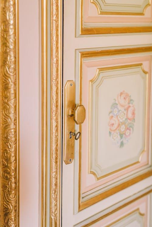 White Wooden Door With Brass Door Knob