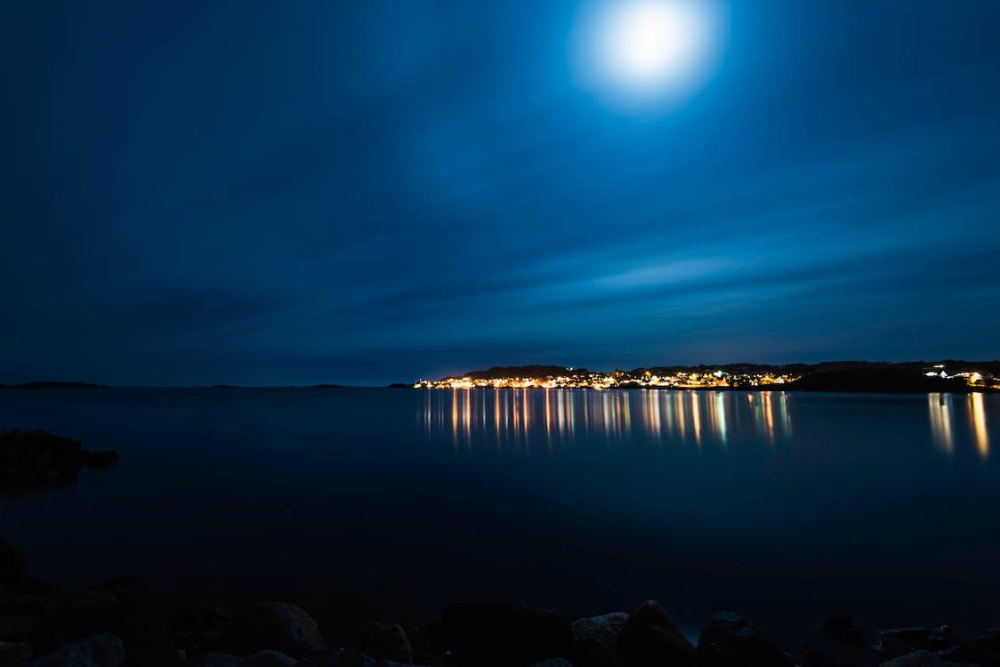вечер, вода, длинная экспозиция