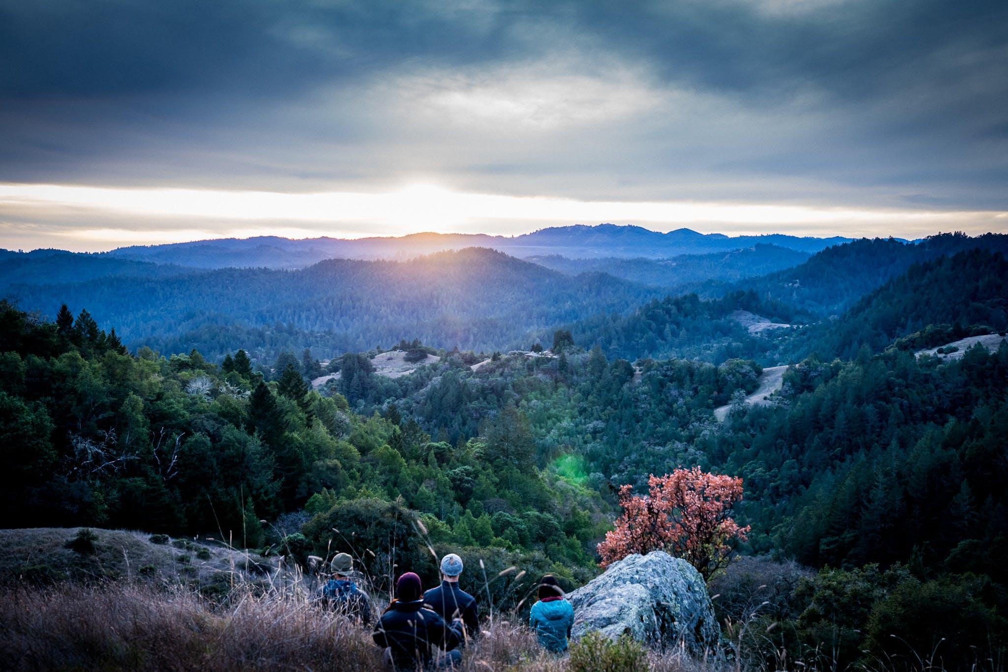 ağaçlar, bulutlar, çim, dağlar içeren Ücretsiz stok fotoğraf