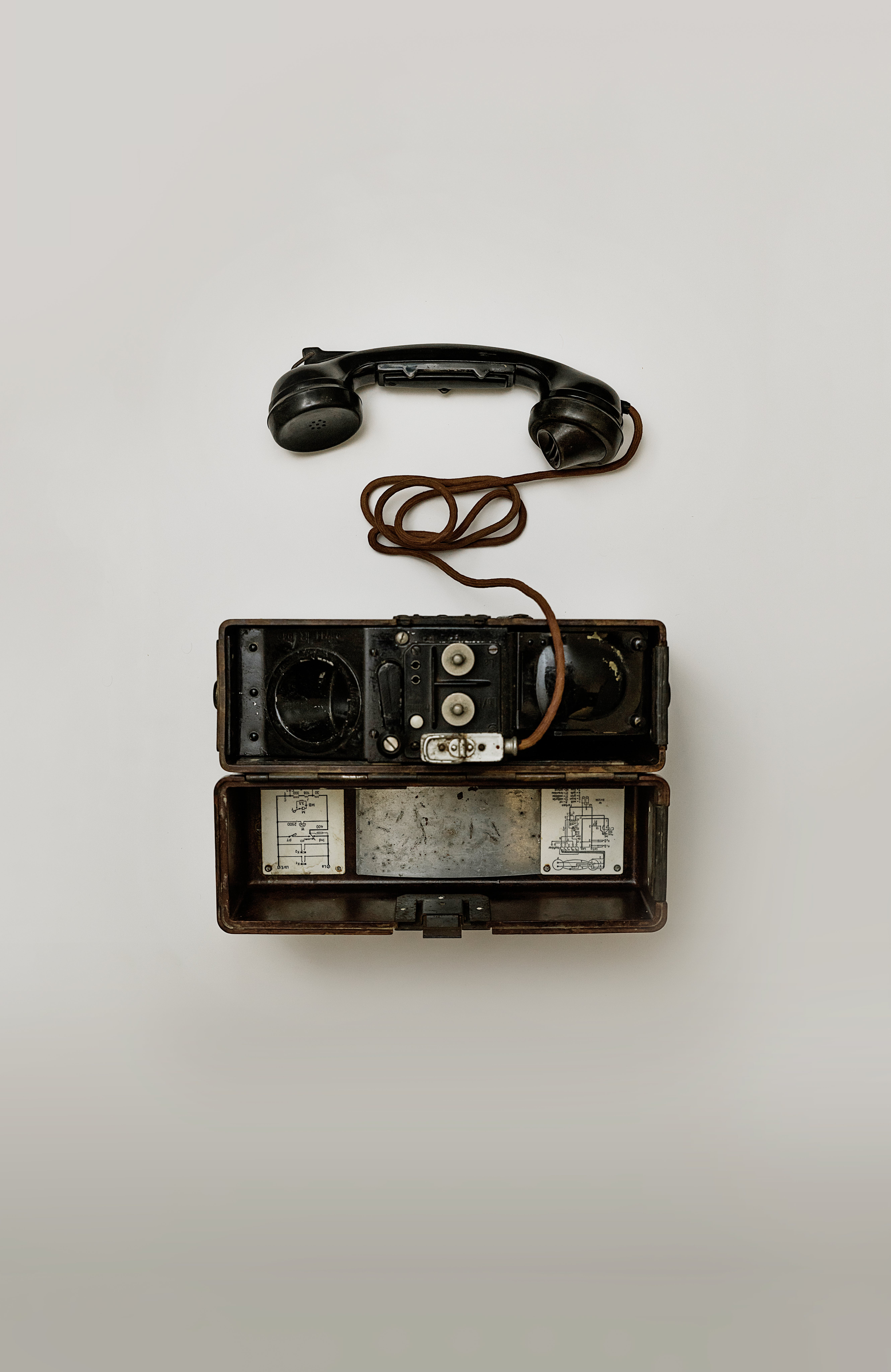 Black Telephone on White Surface