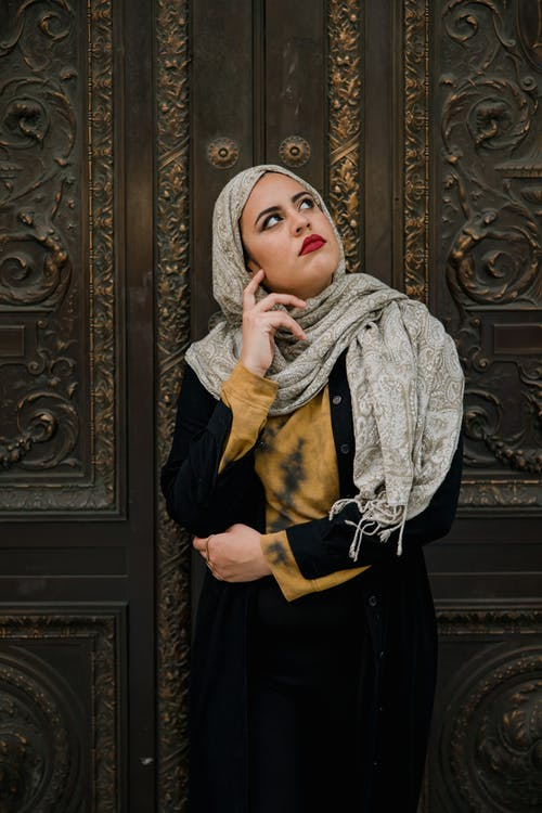 Woman Wearing Hijab and Black Dress